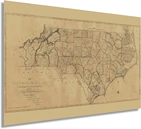 1939 Antique NORTH CAROLINA Map Vintage State Map of North Carolina Wall Art Housewarming Gift for Anniversary Birthday Wedding 12568