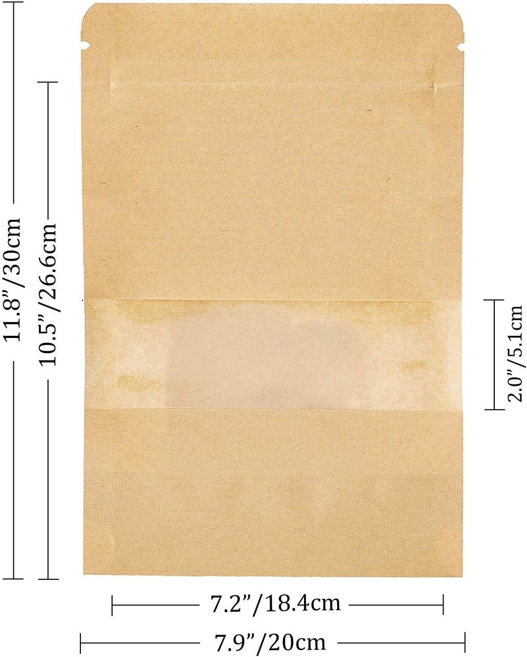 meridy Bolsa de Papel Kraft Reutilizables Marr/ón Ziplock Auto Sellante Stand Up con Ventana Transparente Impermeables Aplicar DIY T/é Granos de Caf/é Tea Almacenamiento de Alimentos100Pcs 9 14cm