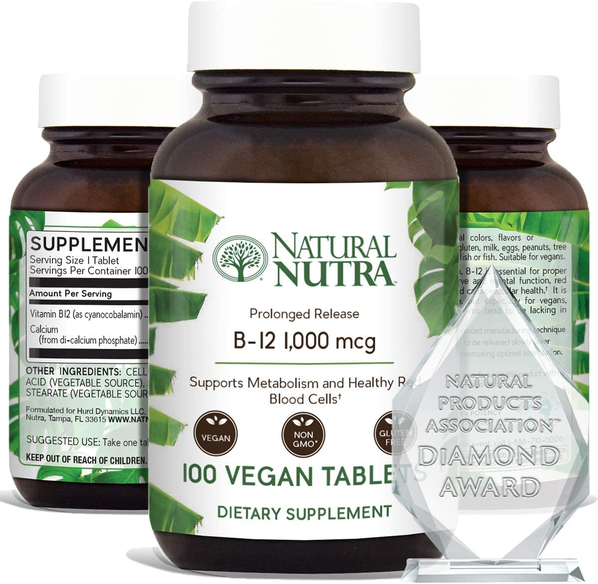 Amazon.com: Natural Nutra Vegan Vitamin B12 1000 mcg,Cobalamin B 12  Supplement,Calcium Phosphate,Healthy Brain, Red Blood Cells,Supplements for  Optimal Absorption,Non GMO,Gluten Free,Sugar 100 Tablets: Health & Personal  Care