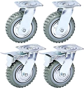 Nisorpa 6in Swivel Caster Wheels,Heavy Duty 4PCS Pack Anti-Skid Rubber Swivel Casters Mute with 360 Degree Ball Bearing Castor Wheels Top Plate(2PCS with Brake Lock,2PCS Without Brake Lock)