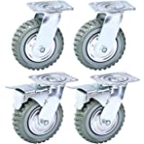 Nisorpa 8 inch Caster Wheels Heavy Duty 4 Pack Anti-Skid Rubber Swivel Caster Mute with 360 Degree Ball Bearing Castors Top Plate 2PCS Locking Swivel Casters 2PCS Without Brake Lock