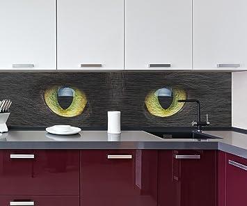 Cocina Pared Trasera Primer Plano de Gato Negro Design M1013 260 x 60 cm (W x ...