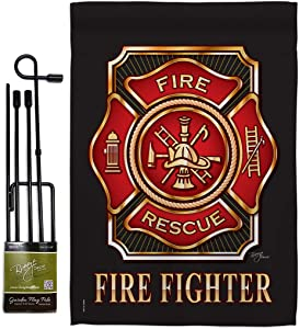 Fire Fighter Garden Flag - Set with Stand Armed Forces Firefrighter Fireman Department Rescue Red Line Hero Support - House Decoration Banner Small Yard Gift Double-Sided Made In USA 13 X 18.5