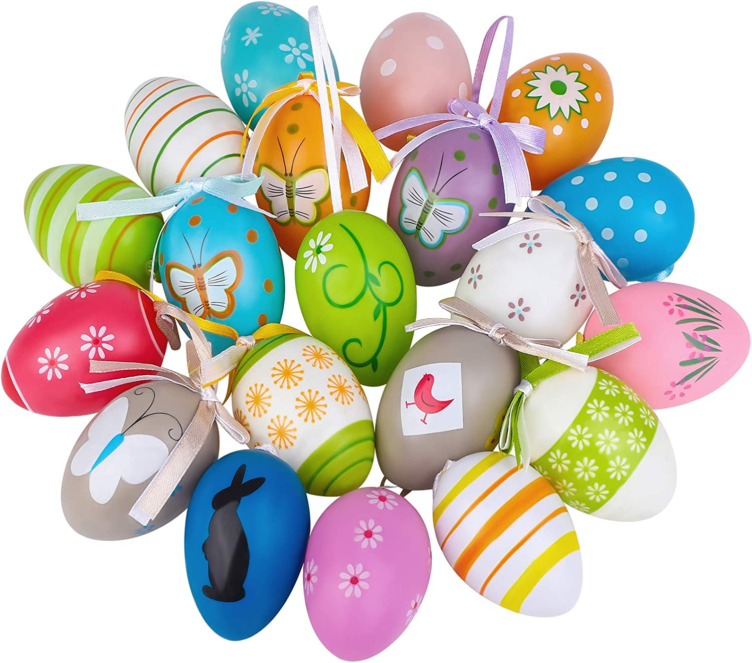 ADXCO 21 Pieces Colorful Easter Eggs Easter Hanging Ornaments Easter Hanging Decorative Easter Eggs Painted for DIY Crafts Home Decorations, Random Styles