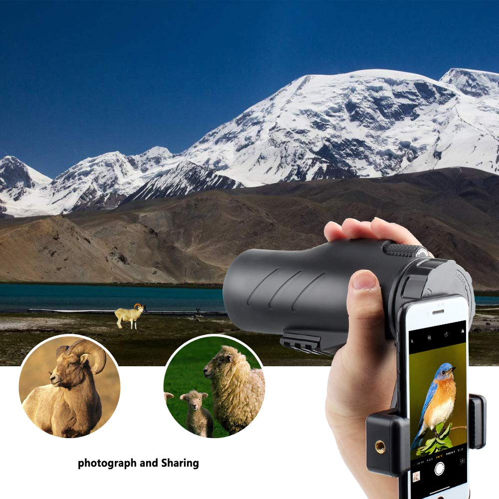 Gosky 12x50 Ultra HD Monocular with Picatinny Rail for Rifle-2019 New Waterproof Hunting Monocular with Scope Mounting Base Rifle Rail and Smartphone Holder for Hunting Survival Wildlife Bird Watching by Gosky (Image #3)