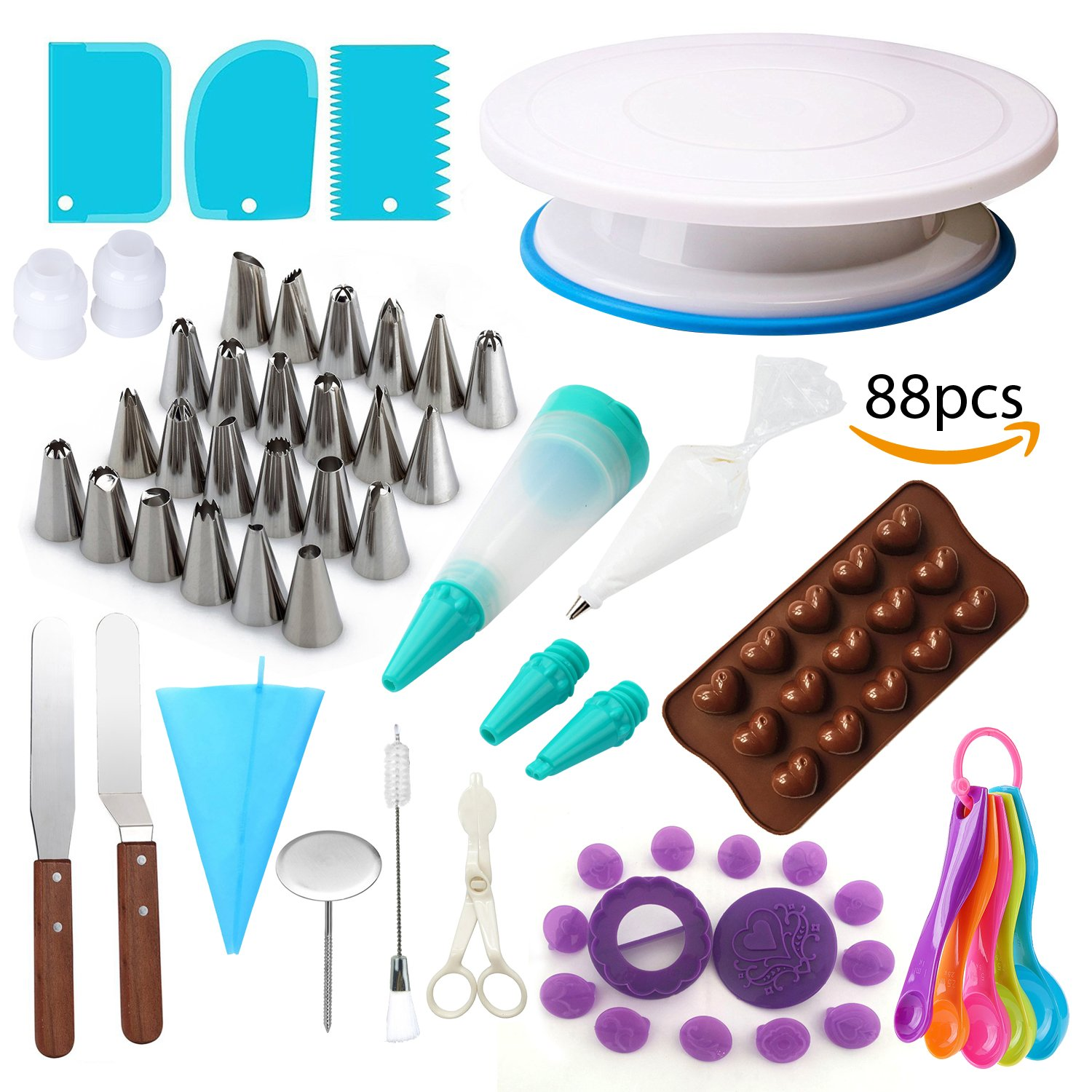 Cake Decorating Supplies Kit with Rotating Turntable Stand, Imprint & Tip Set, Frosting & Piping Bags, Pastry Tools for Cupcakes, Fondant Icing, Spatulas 88 Pieces by Lime & Lemons Co.