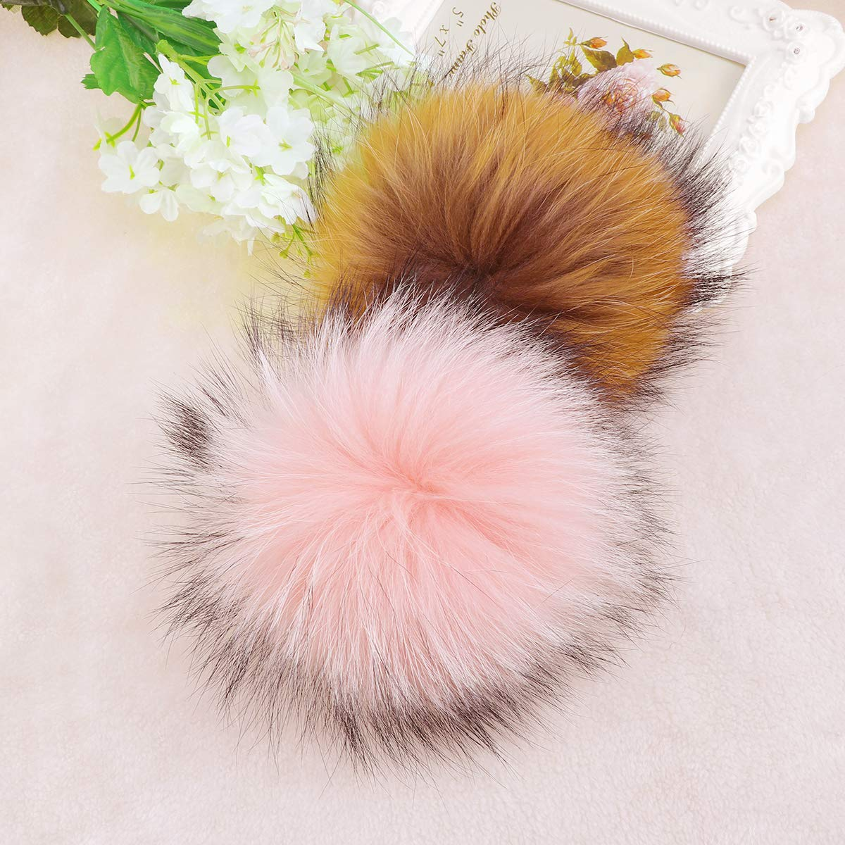 SUPVOX Faux Fur Fluffy Pompom with Snap Fastener DIY Knitting Accessories for Hats Beanies Shoes Scarves Bag Charms Black