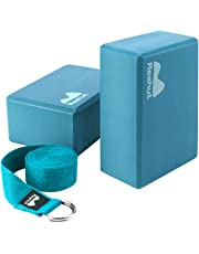 """REEHUT Yoga Block (2 PC) and Metal D Ring Yoga Strap(1 PC) Combo Set, 9"""" x 6"""" x 4""""High Density EVA Foam Block to Support and Deepen Poses, 8FT Yoga Belt for Stretching, General Fitness"""