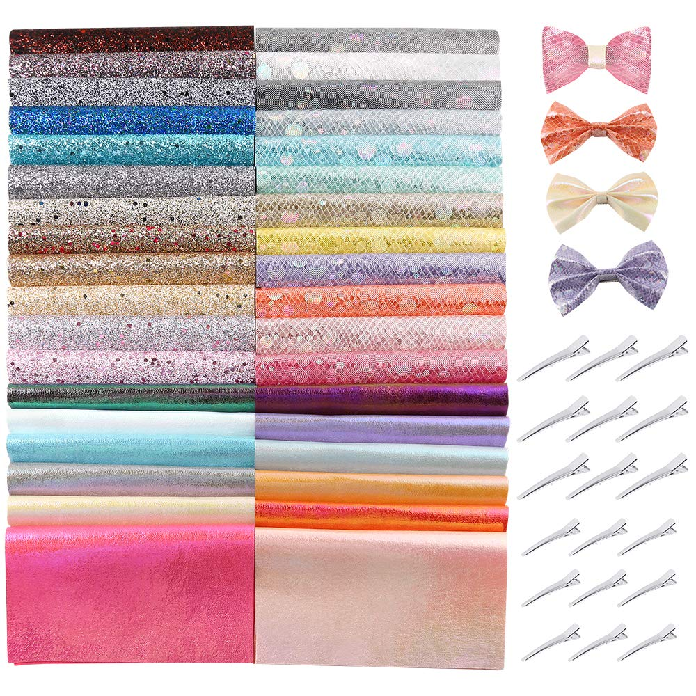 Caydo 36 Pieces Glitter Faux Sheets with Hair Clips for Bows Hair Clips Craft Making, Handbags and Other Crafts, A5 Size by Caydo