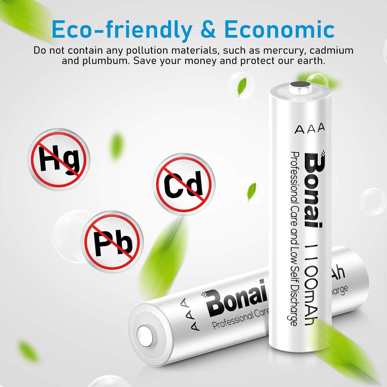 BONAI Rechargeable battery charger for AA AAA Batteries,8 Bay AA AAA Battery Charger with AA 2800mAh (4 Pack) and AAA 1100mAh (4 Pack) Ni-MH Rechargeable Batteies-UL Certificate: Electronics