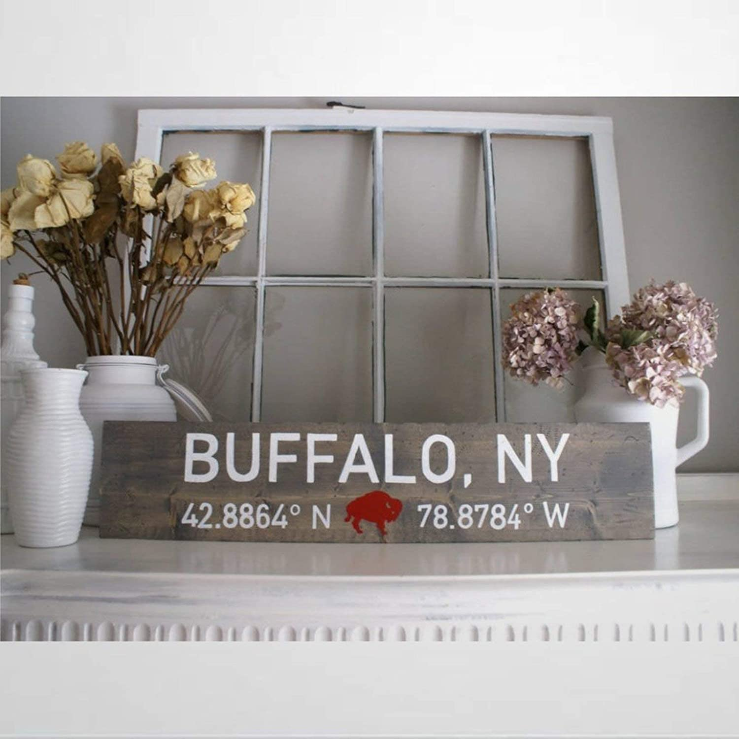 ArogGeld Buffalo NY with Coordinates Wood Sign,Wooden Wall Hanging Art,Inspirational Farmhouse Wall Plaque,Rustic Home Decor for Living Room,Nursery,Bedroom,Porch,Gallery Wall