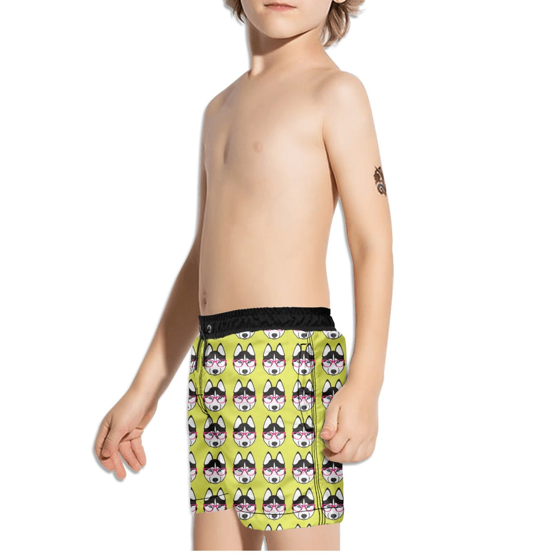 FullBo Cute Husky with Pink Glasses Pattern Little Boys Short Swim Trunks Quick Dry Beach Shorts