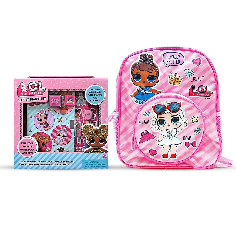 L.O.L Surprise! Backpack 12'' Bundle with L.O.L Surprise! Secret Diary Set for girls/Gift Set