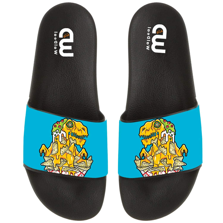 Cartoon Pizza Dragon Print Summer Slide Slippers For Men Women Kid Indoor Open-Toe Sandal Shoes