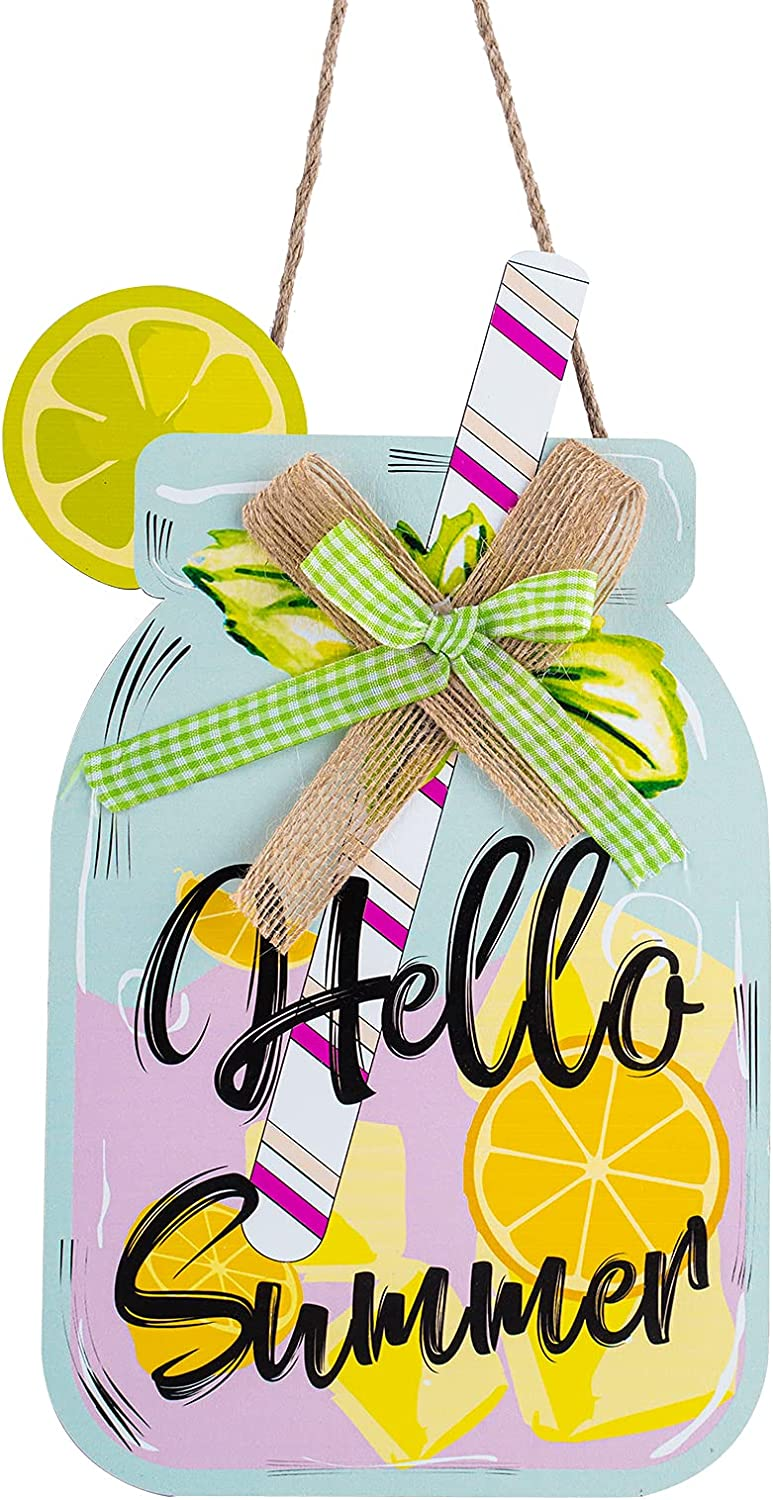 Anlionye Lemonade Summer Front Door Decorations Hanging, Lemon Mason Jar Wooden Board Welcome Sign Plaque with Hanging String for Farmhouse Rustic Wall Porch Window Fence Hanger Decor