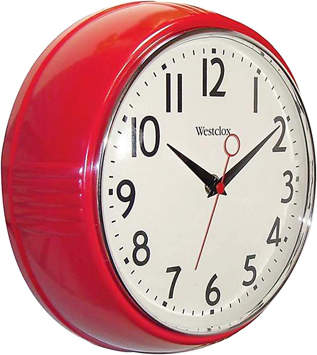 Westclox 32042R 9.5-Inch Retro 1950 Kitchen Wall Clock