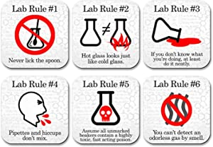 Neurons Not Included Funny Science Coaster Set - Lab Rules - 6 Piece Set - Neoprene