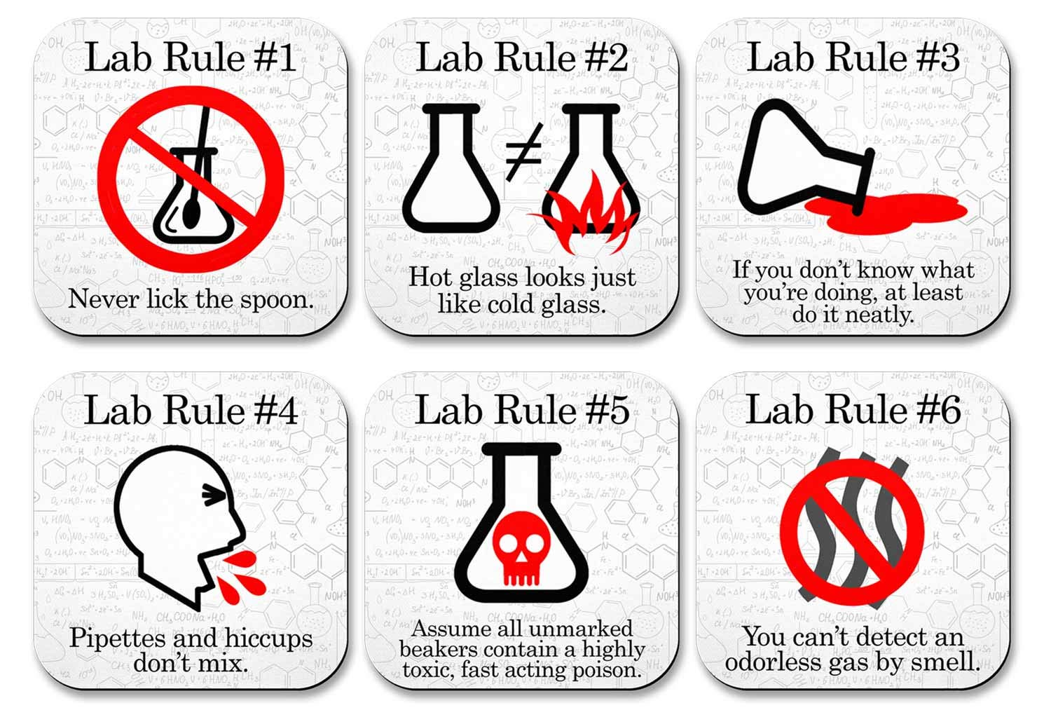 Neurons Not Included Funny Science Coaster Set - Lab Rules - 6 Piece Set - Neoprene by Neurons Not Included