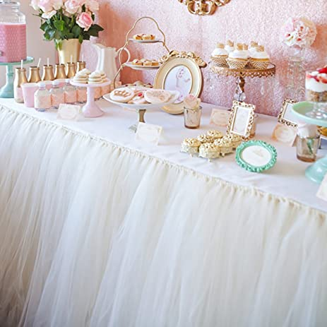 Amazon handmade tutu tulle table skirt for princess party table handmade tutu tulle table skirt for princess party table wedding head bridal decor tableware lace tablecloth junglespirit Choice Image