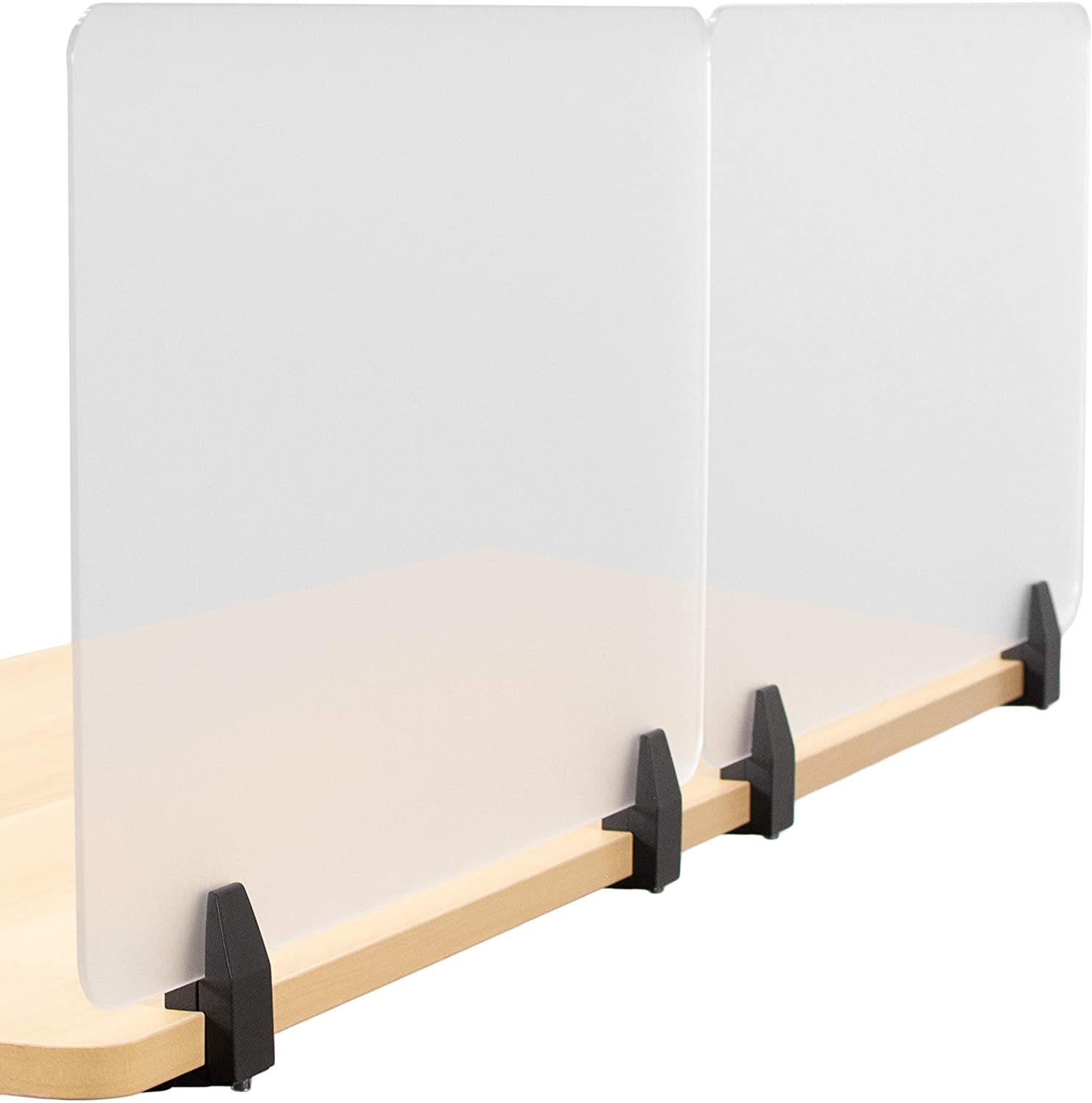 VIVO Dual Frosted Plexiglass 30 x 18 inch Clamp-on Desk Privacy Panels, Acrylic Cubicle Desk Dividers, Office Partitions (Pack of 2) (PP-2-G060C)