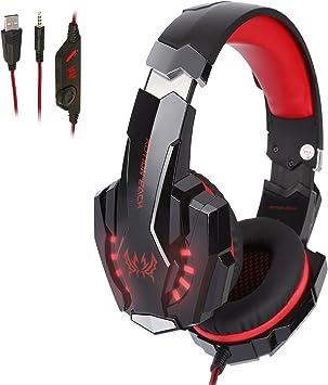 Tsing Auriculares Gaming Cascos PS4, Micrófono Control de Volumen LED Luz 3.5mm Jack, Reducción de ruido, PC/Xbox One/Nintendo Switch/Móvil/Tablet, Rojo(Tiene un adaptador): Amazon.es: Electrónica