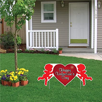 Amazon.com : VictoryStore Yard Sign Outdoor Lawn Decorations: Valentine's  Lawn Decoration - Happy Valentine's Day Cupid 2' x 4' Sign w/2 EZ stakes :  Garden ... - Amazon.com : VictoryStore Yard Sign Outdoor Lawn Decorations