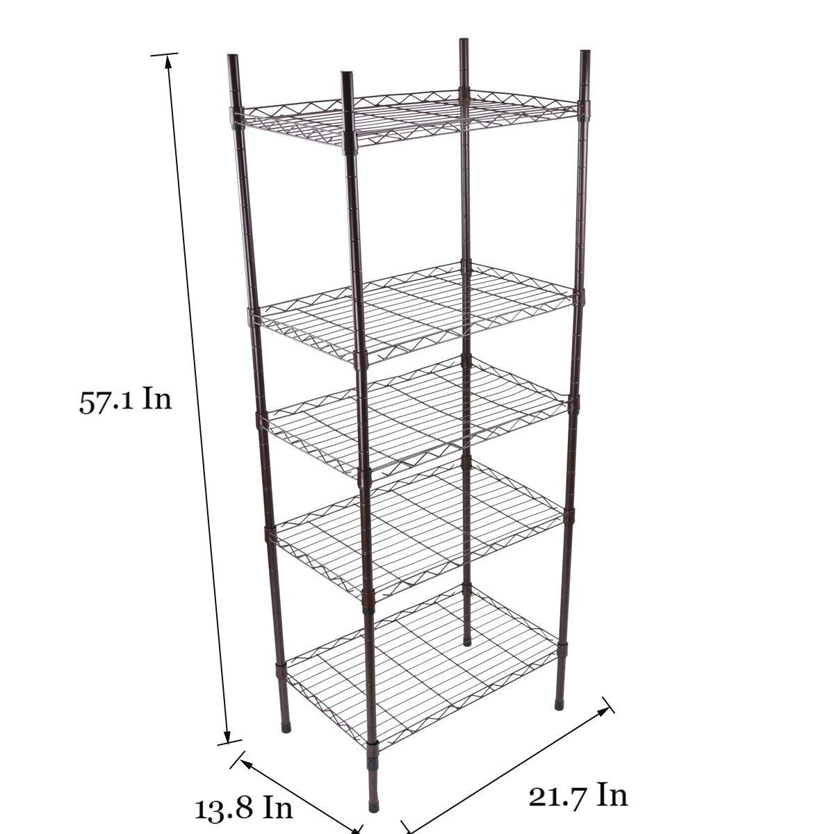 Yontree 5-Tier Wire Shelving Shelves Unit Steel Storage Rack Baker Rack Kitchen Laundry Organization in Brown on Wheels 21.7x13.8x57.1 in. by Yontree (Image #2)