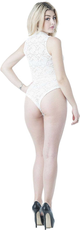 Khanomak Sleeveless All Lace Mock Neck Bodysuit