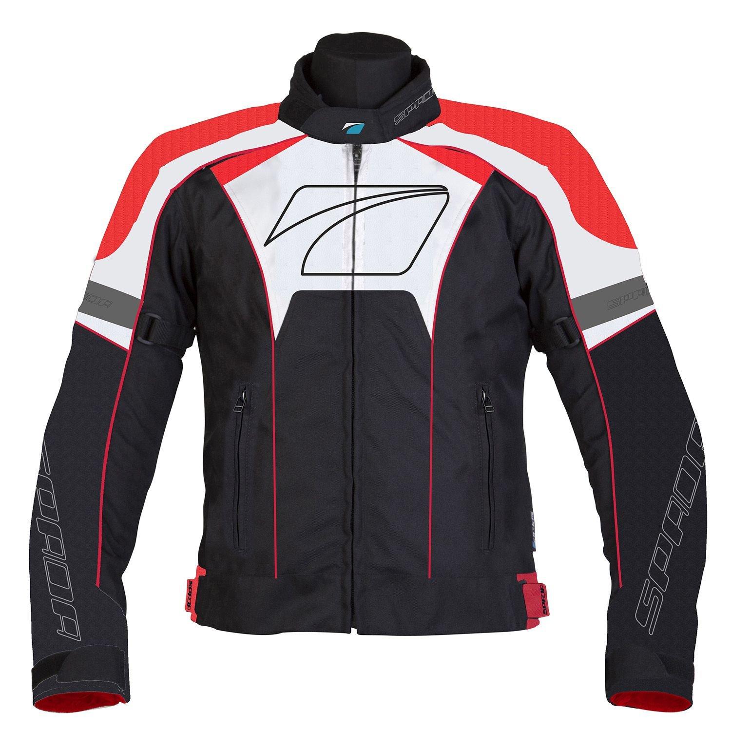Spada Burnout Sports Textile Waterproof Motorcycle Jacket - Black/Red/White L by Spada