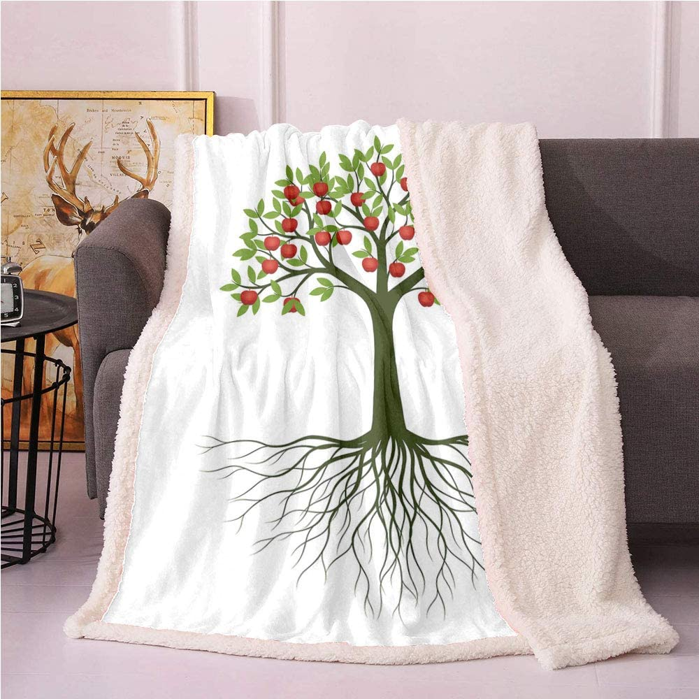 SeptSonne Apple Tree Plush Blanket,Fruit Tree with Roots Illustration on Plain Background Light Thermal Blanket,Baby Unisex Blankets(50x60,Emerald Fern Green and Vermilion)