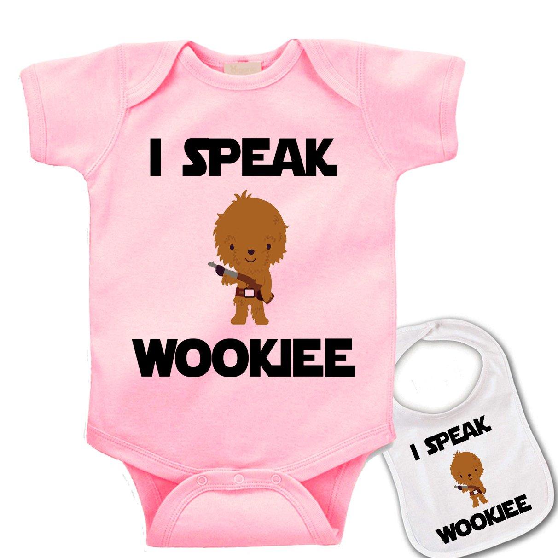 I Speak Wookee  Custom Printed Star Wars Baby bodysuit onesie & Matching bib 770u