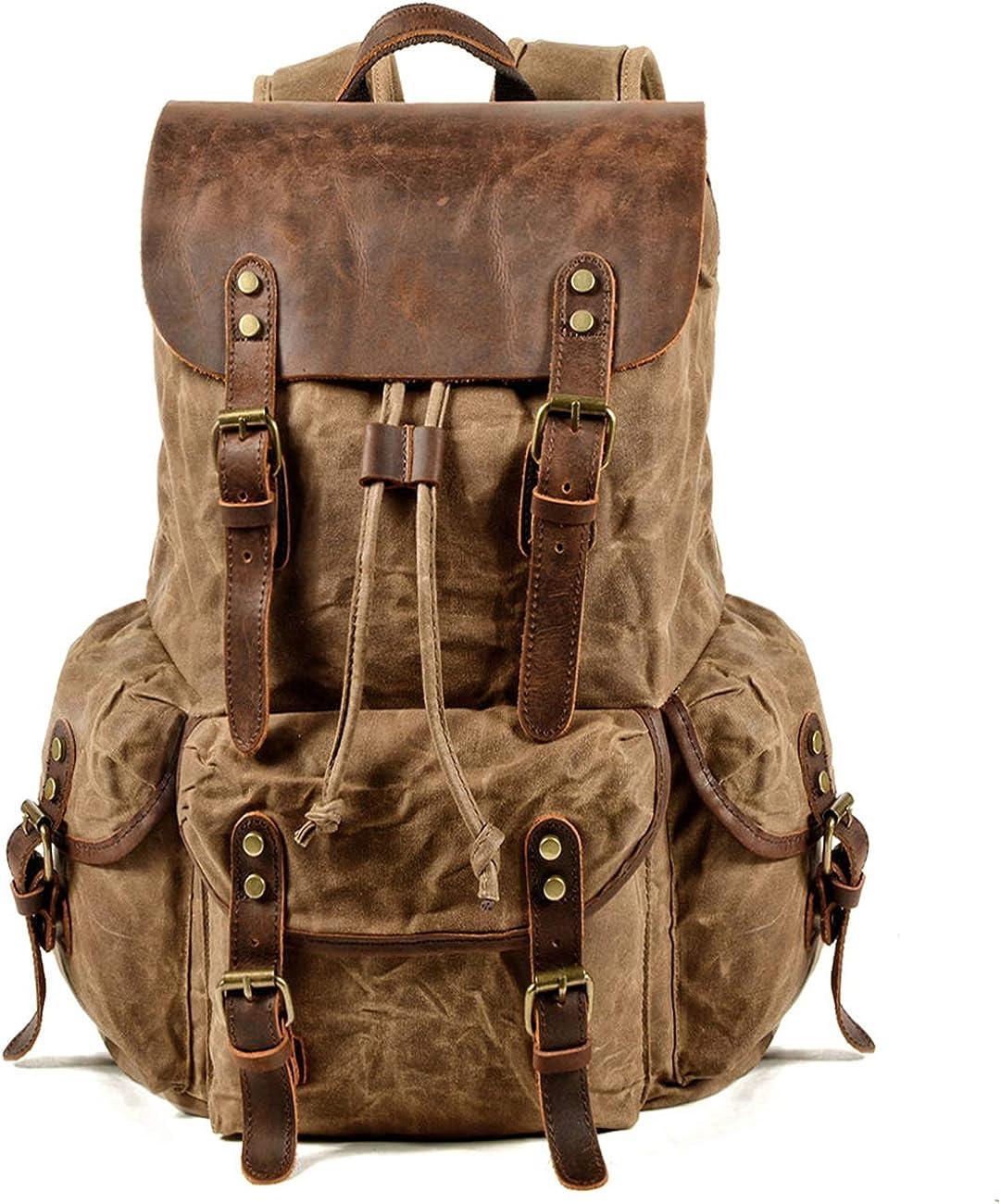 WUDON Leather Backpack for Men, Waxed Canvas Shoulder Rucksack for Travel School