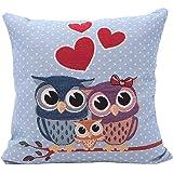 Kingko® Home Car Bed Vintage 18 x 18 nches Decorative Throw Sofa Owl Pillow Case Cushion Cover (A)