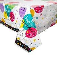 Plastic Breezy Birthday Tablecloth, 7ft x 4.5ft