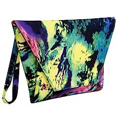 BMC Womens Faux Leather Abstract Fashion Envelope Flap Design Clutch Handbag