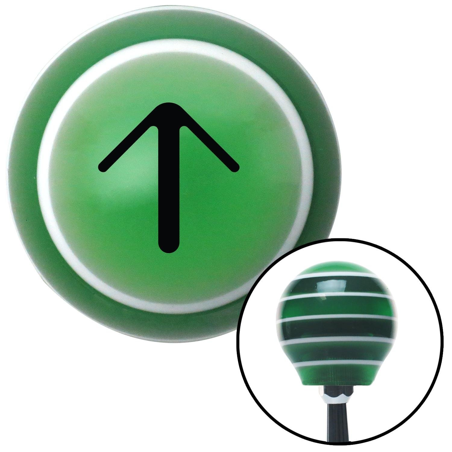 American Shifter 121394 Green Stripe Shift Knob with M16 x 1.5 Insert Black Solid Pointing Arrow Up
