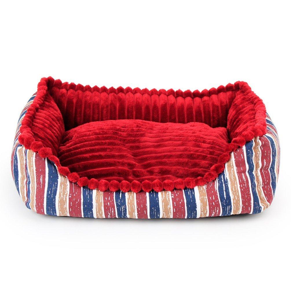 Red Komia Velvet Liner Bed for Dog Square Pad Foam Pet Bed Blanket Indoor