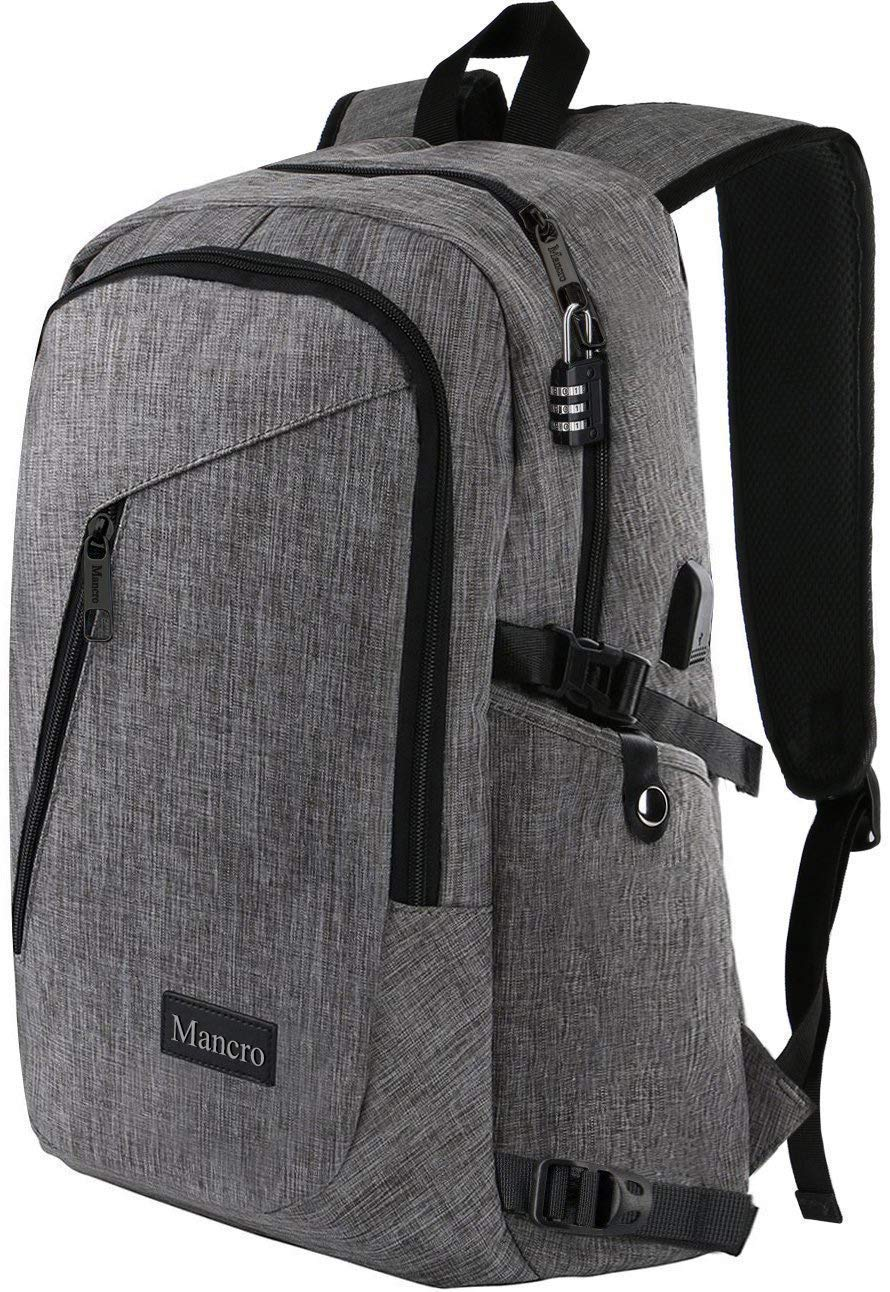 Laptop Backpack, Travel Computer Bag for Women & Men, Anti Theft Water Resistant College School Bookbag, Slim Business Backpack w/ USB Charging Port Fits UNDER 17'' Laptop & Notebook by Mancro (Grey)