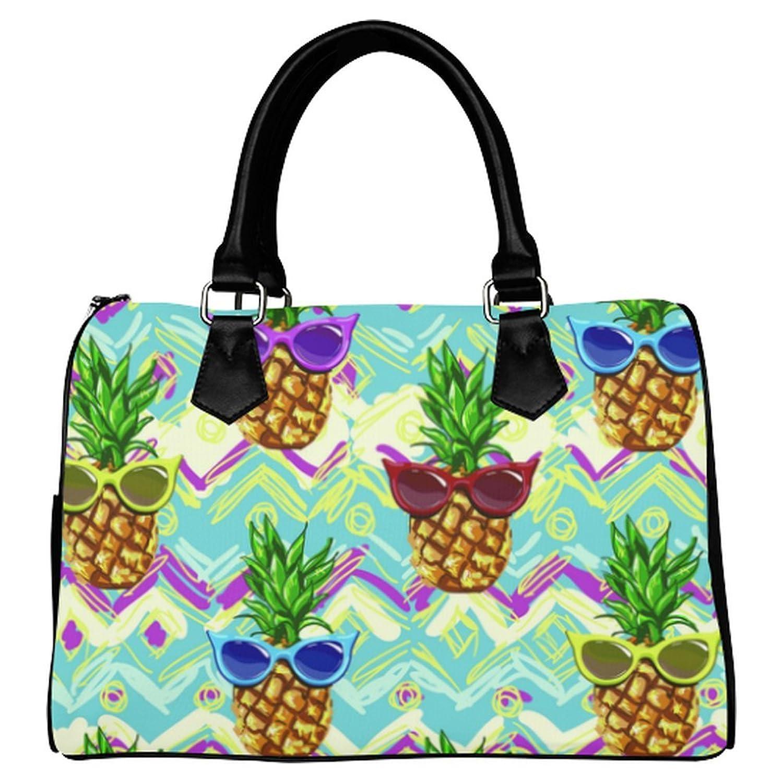 InterestPrint Custom Pineapple Leather Canvas Handbag/Tote Bag/Shoulder Bag
