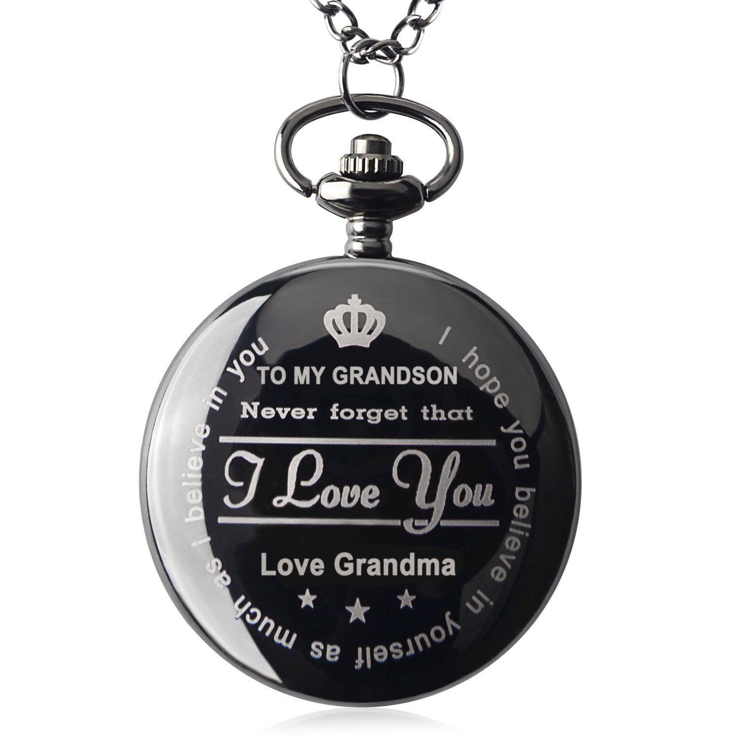 Pocket Watch ''To My GrandSon - Love Grandma(Love Grandpa)''Necklace Chain From Grandparents to Grandson Gifts with Black Gift Box By Qise (Love GrandMa Black)