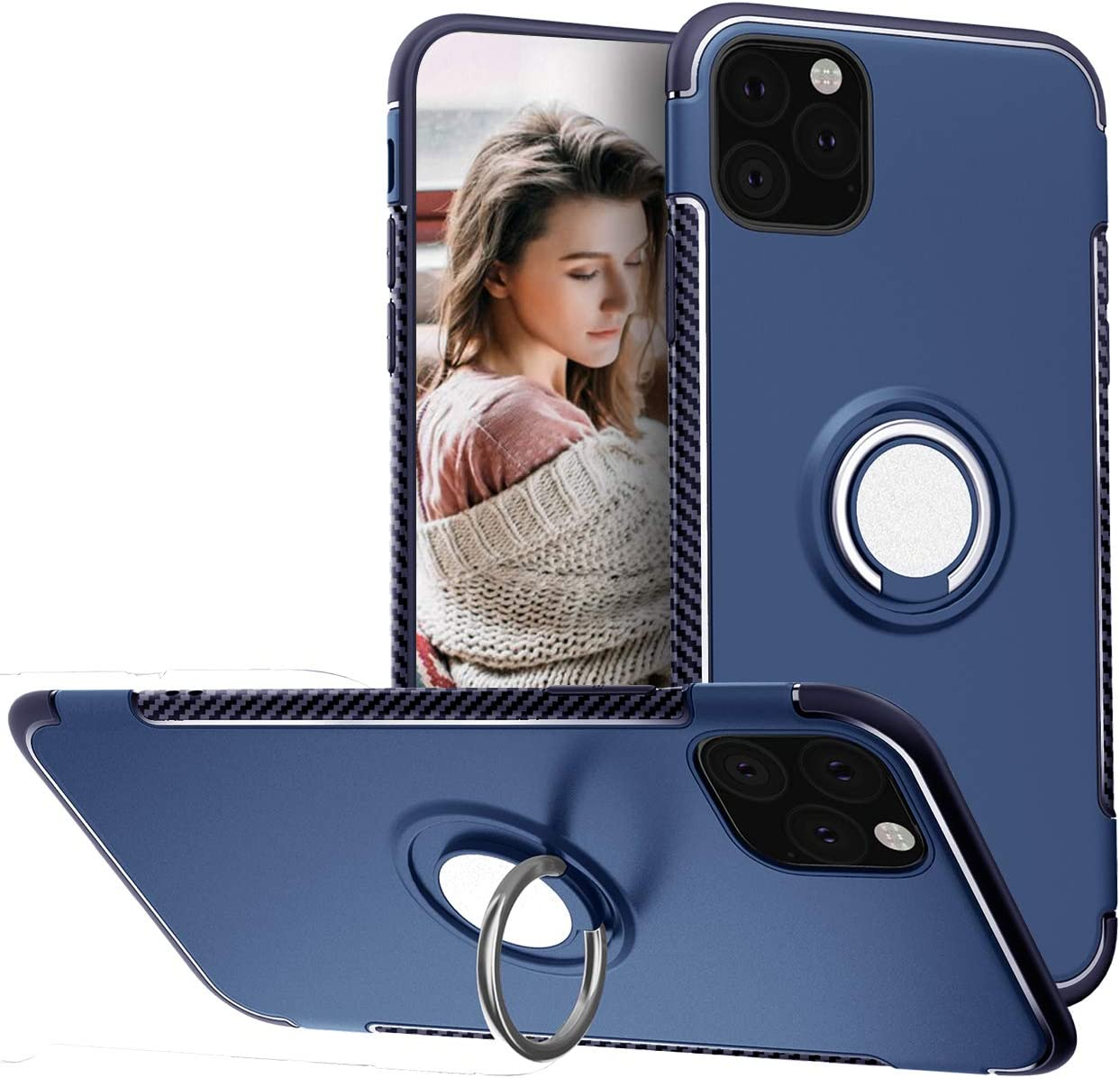 iPhone 11 Pro Max Case 6.5 Inch 2019 Release, 360 Degree Adjustable Ring Grip Stand Hybrid 2 in 1 [Compatible with Magnetic Car Mount] Slim Protective Case Cover for Apple iPhone 11 Pro Max,Blue