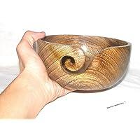 Wooden Yarn Bowl Portable Knitting Yarn Bowl Hook Holder Bhartiya Handicrafts (6 x 6 x 3 Inch)