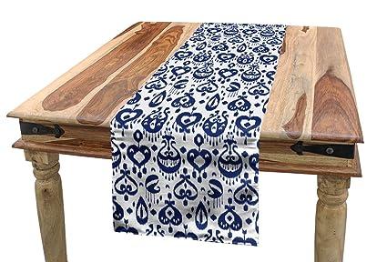 Surprising Amazon Com Ambesonne Navy Blue Table Runner Traditional Inzonedesignstudio Interior Chair Design Inzonedesignstudiocom