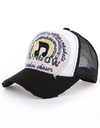 DISTRESSED Trucker - Gorra Malla Rainbow Music Negro: Amazon.es ...