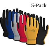 Vgo... Artificial Leather Work Gloves(5-Pairs, 5 Color, Size M/L/XL)