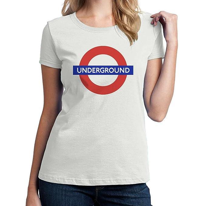 5edd8ad231 ACIUUZSAIBAS   Metro Londres Logo - Camiseta de Mujer Blanco Blanco Large   Amazon.es  Ropa y accesorios