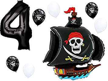 Amazon.com: PartyBox - Globo de cumpleaños para barco pirata ...
