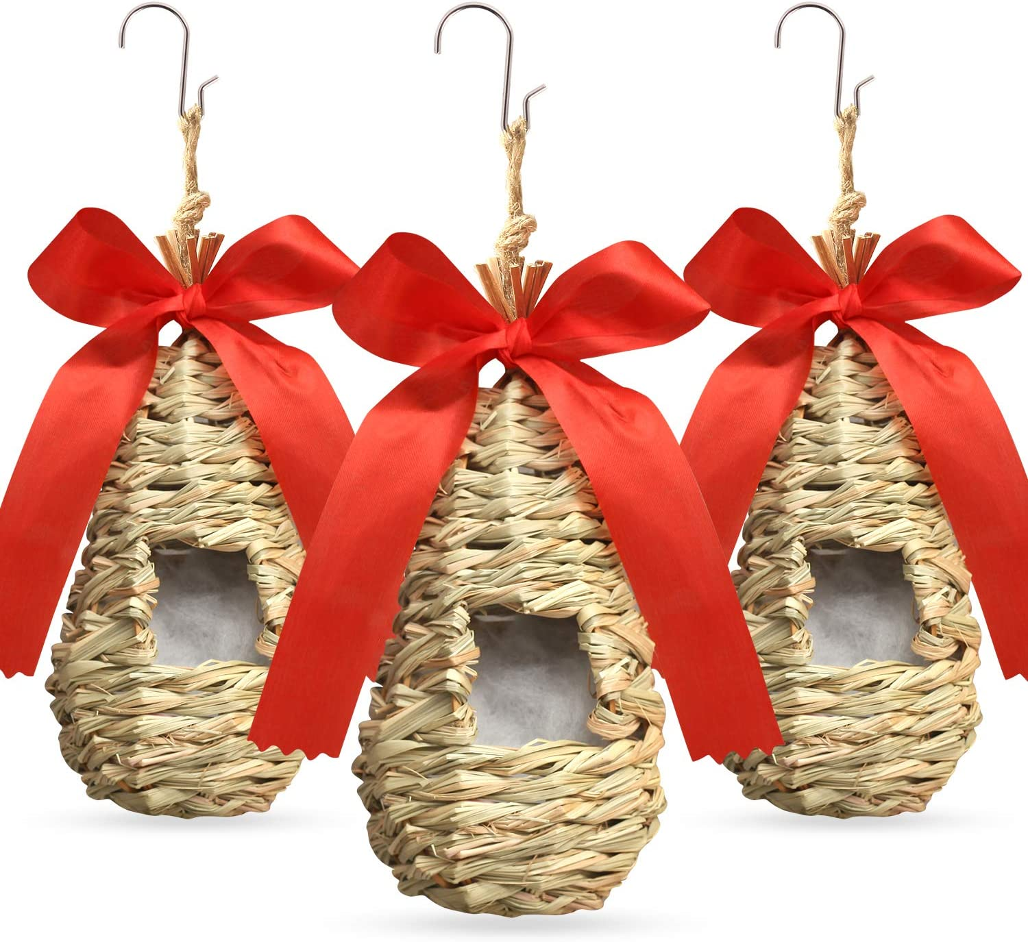 BRITEREE Hummingbird House for Outside Hanging, with Decor Red Ribbon & Nesting Cotton, Birdhouse Kit Set of 3