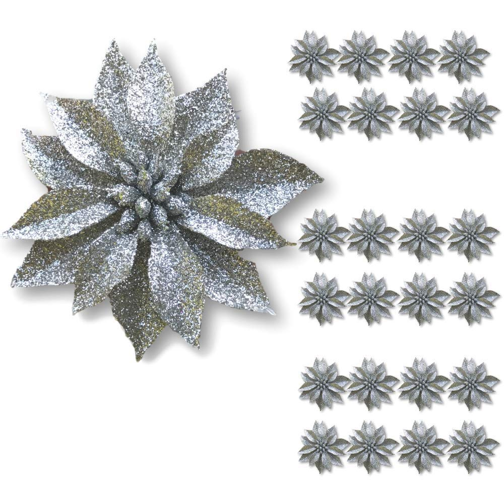 "BANBERRY DESIGNS Artificial Poinsettia Flowers - Set of 24 – 3 ¾"" Silver Glittered Poinsettia Clip On Ornaments - Christmas Decorations - Decorative Floral Accessories 3579-1"