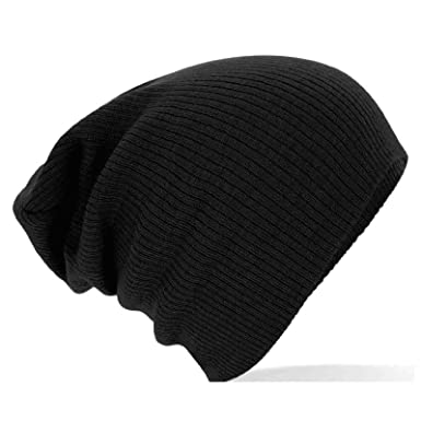 cf0e202678e PLAIN SLOUCH BEANIE KNITTED HAT - B461 (Black)  Amazon.co.uk  Clothing
